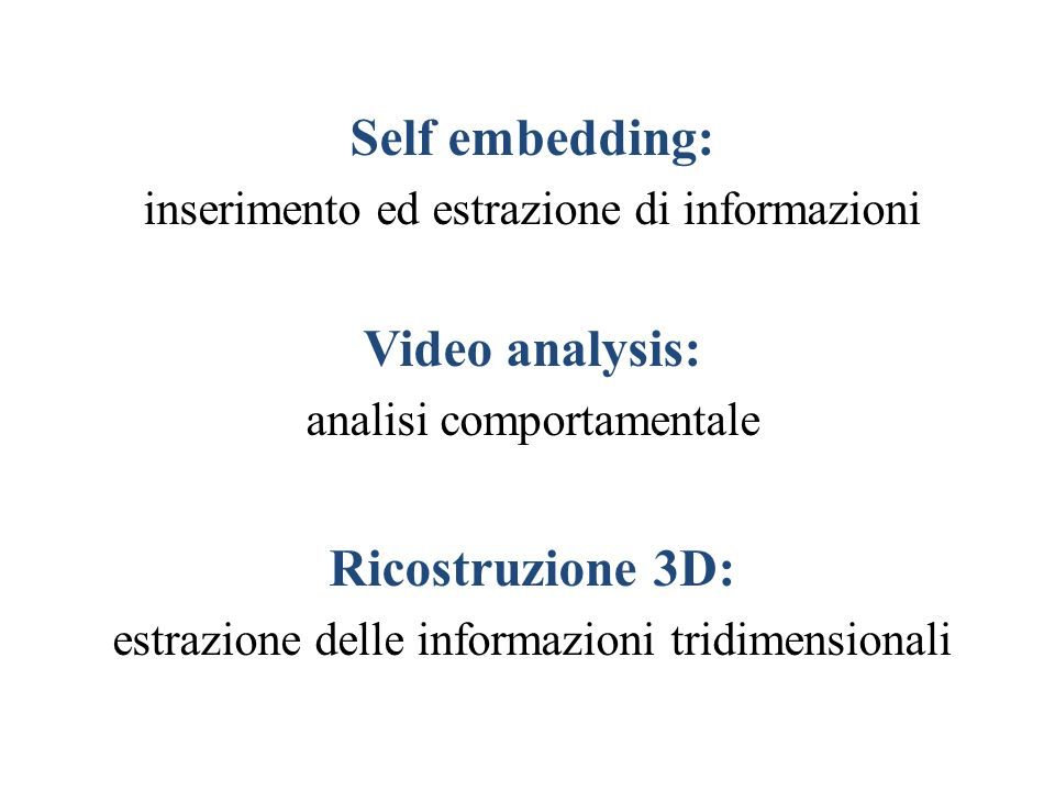 Self embedding: Video analysis: Ricostruzione 3D: