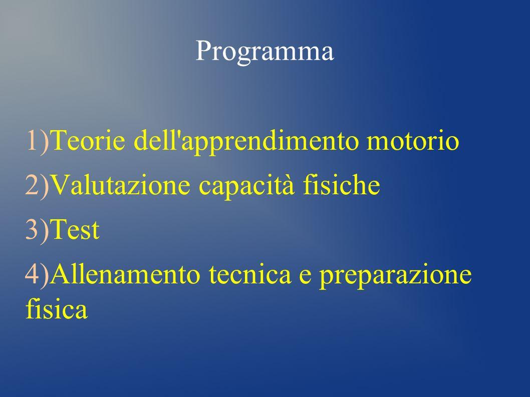 Programma Teorie dell apprendimento motorio. Valutazione capacità fisiche.