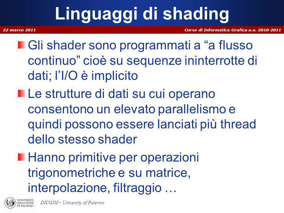 Linguaggi di shading22 marzo 2011. Gli shader sono programmati a a flusso continuo cioè su sequenze ininterrotte di dati; l'I/O è implicito.