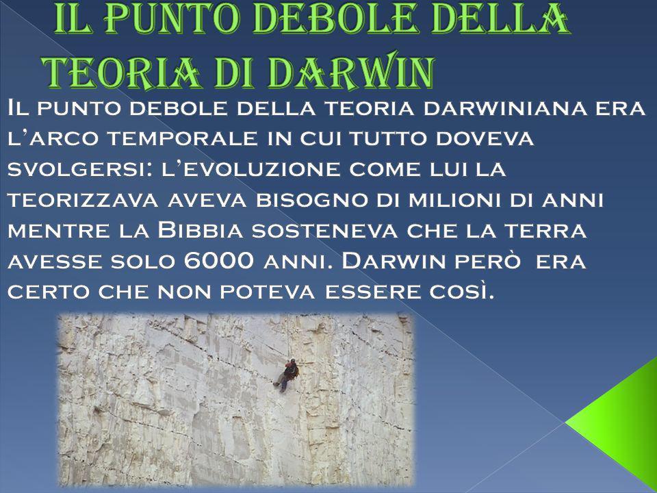 IL PUNTO DEBOLE DELLA TEORIA DI DARWIN