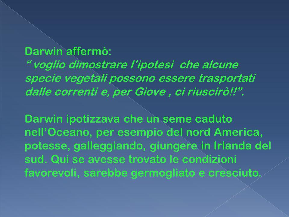Darwin affermò: voglio dimostrare l'ipotesi che alcune specie vegetali possono essere trasportati dalle correnti e, per Giove , ci riuscirò!! .