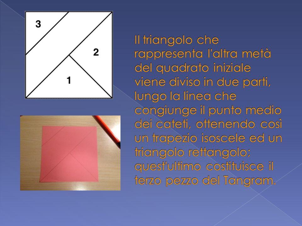 Il triangolo che rappresenta l altra metà del quadrato iniziale viene diviso in due parti, lungo la linea che congiunge il punto medio dei cateti, ottenendo così un trapezio isoscele ed un triangolo rettangolo; quest ultimo costituisce il terzo pezzo del Tangram.