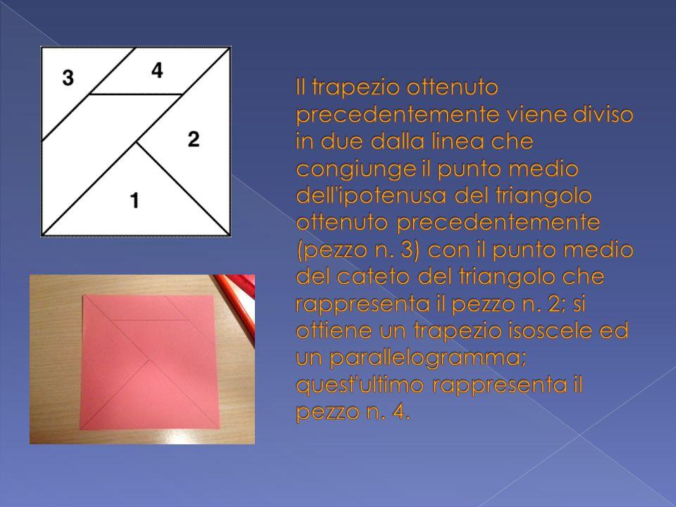 Il trapezio ottenuto precedentemente viene diviso in due dalla linea che congiunge il punto medio dell ipotenusa del triangolo ottenuto precedentemente (pezzo n.