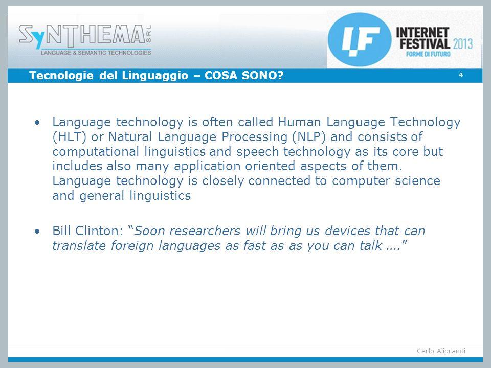 Tecnologie del Linguaggio – COSA SONO