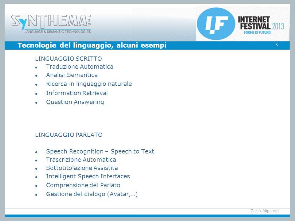 Tecnologie del linguaggio, alcuni esempi