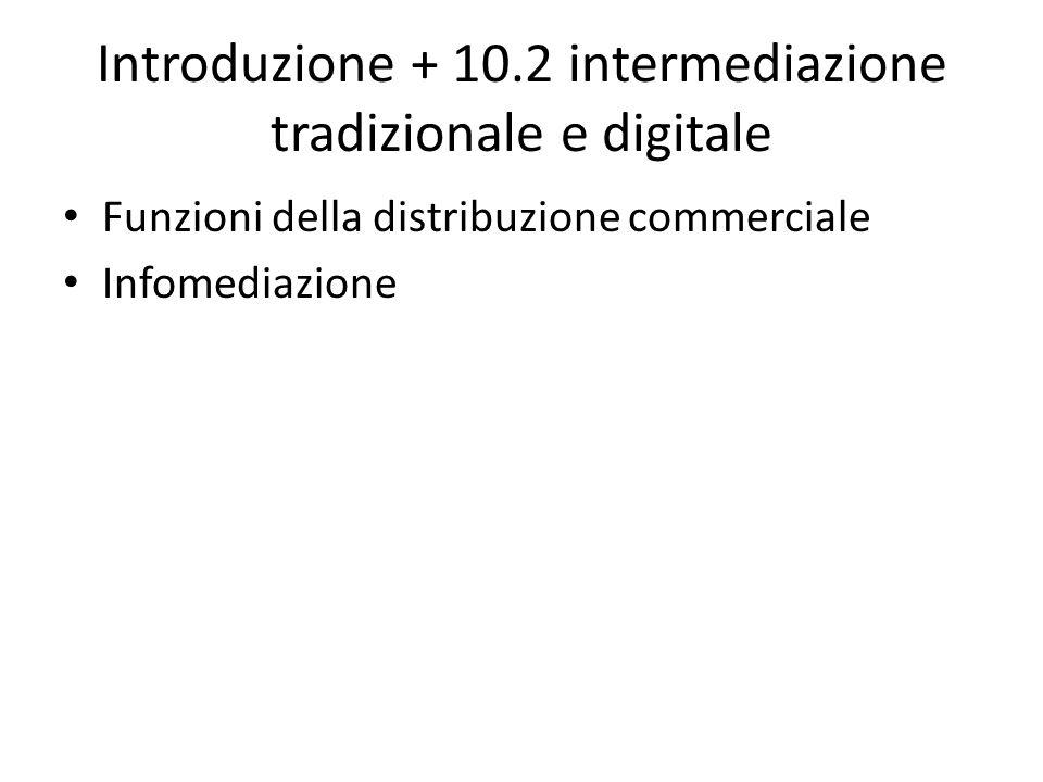 Introduzione + 10.2 intermediazione tradizionale e digitale