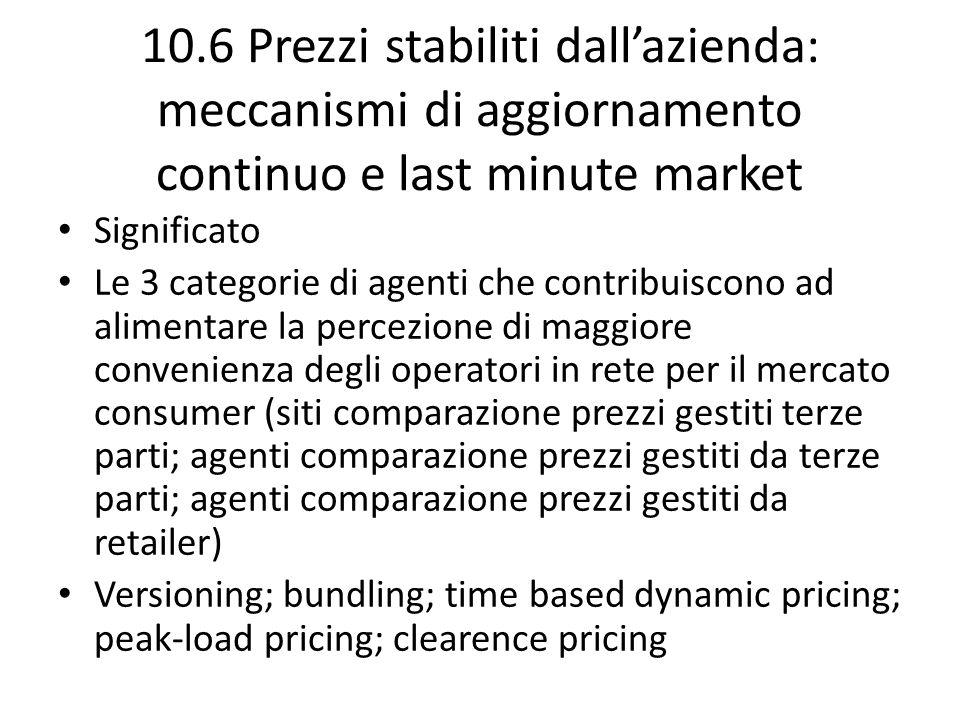 10.6 Prezzi stabiliti dall'azienda: meccanismi di aggiornamento continuo e last minute market