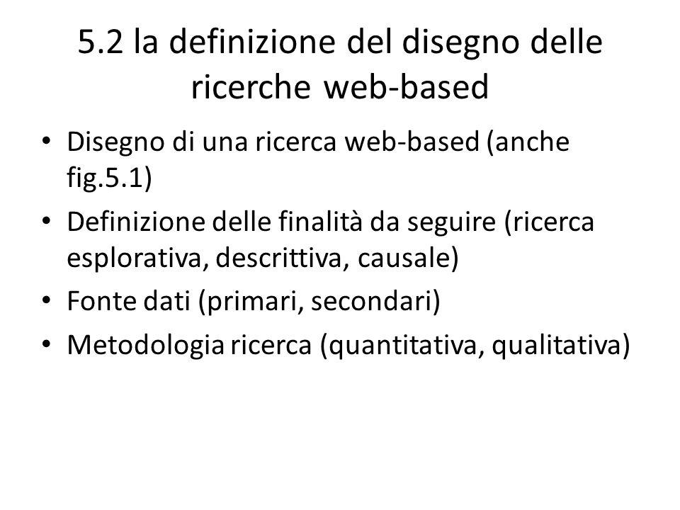 5.2 la definizione del disegno delle ricerche web-based