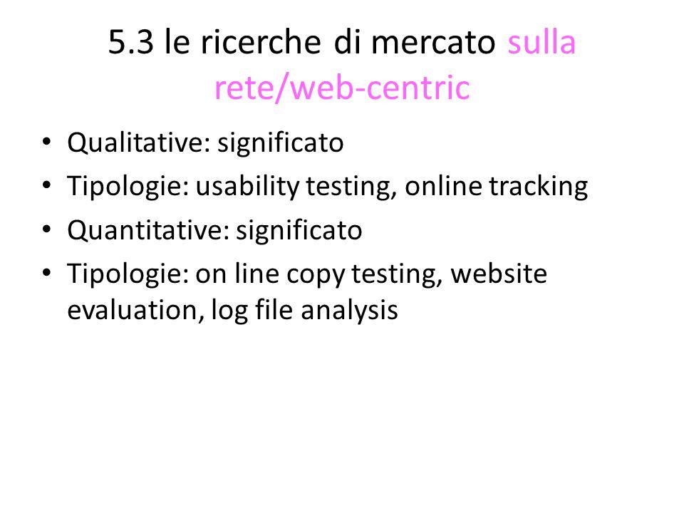 5.3 le ricerche di mercato sulla rete/web-centric