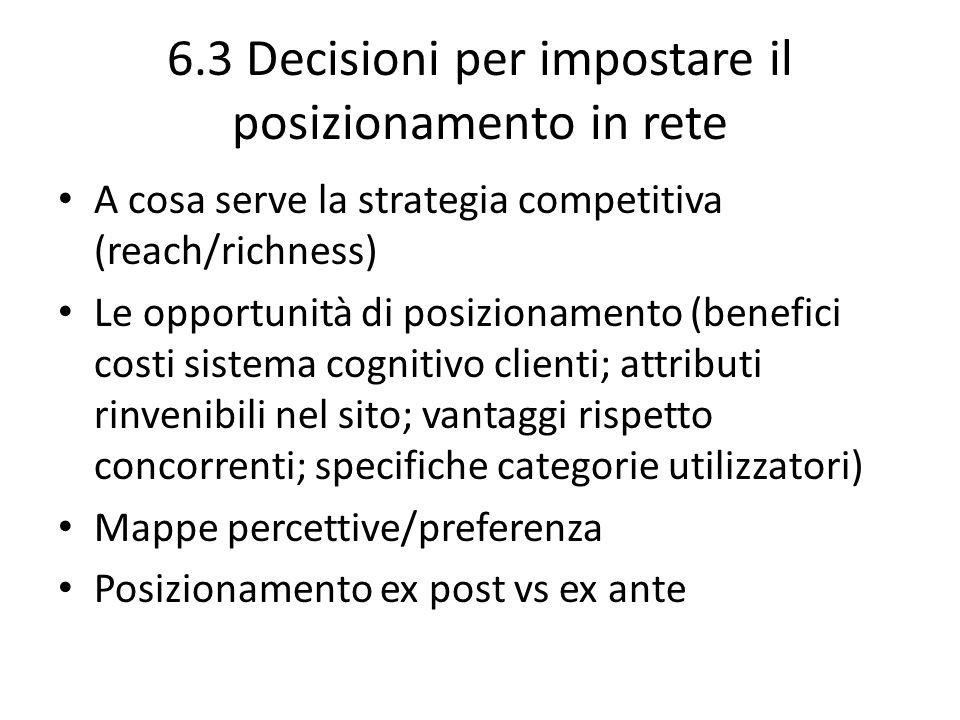 6.3 Decisioni per impostare il posizionamento in rete