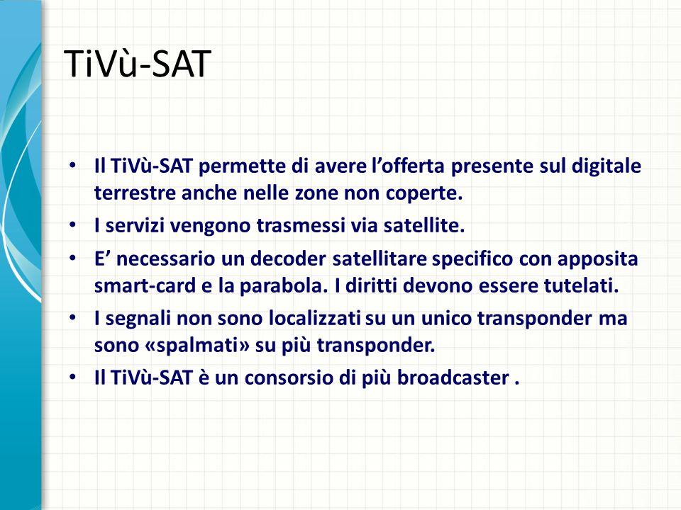 TiVù-SAT Il TiVù-SAT permette di avere l'offerta presente sul digitale terrestre anche nelle zone non coperte.