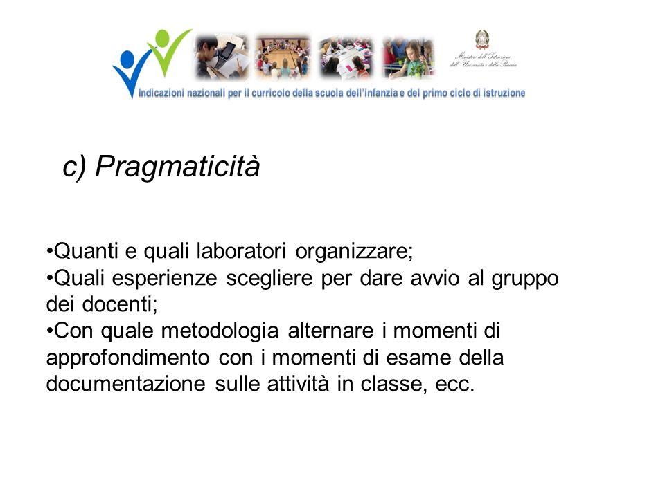 c) Pragmaticità Quanti e quali laboratori organizzare;
