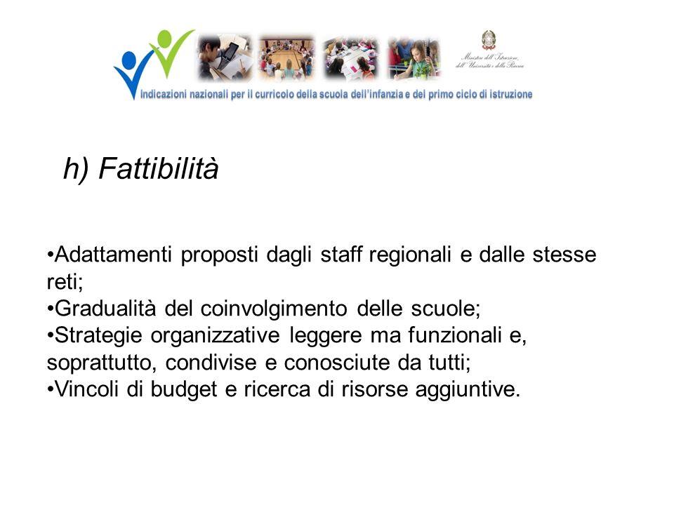 h) Fattibilità Adattamenti proposti dagli staff regionali e dalle stesse reti; Gradualità del coinvolgimento delle scuole;