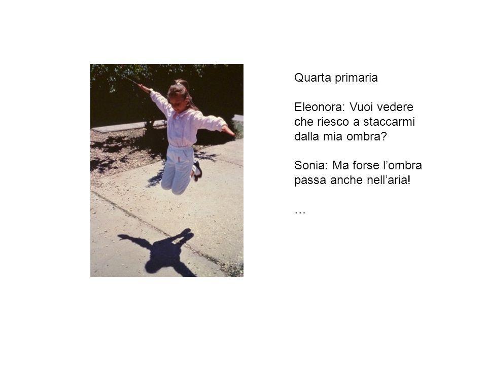 Quarta primaria Eleonora: Vuoi vedere che riesco a staccarmi dalla mia ombra Sonia: Ma forse l'ombra passa anche nell'aria!