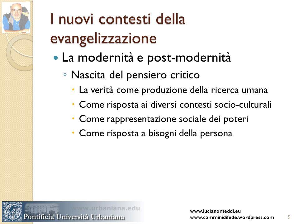 I nuovi contesti della evangelizzazione