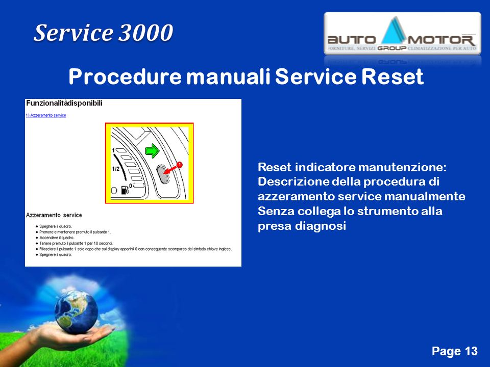 Procedure manuali Service Reset