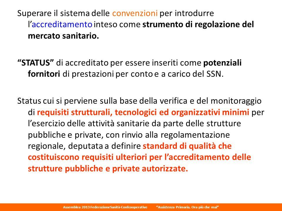 Superare il sistema delle convenzioni per introdurre l'accreditamento inteso come strumento di regolazione del mercato sanitario.