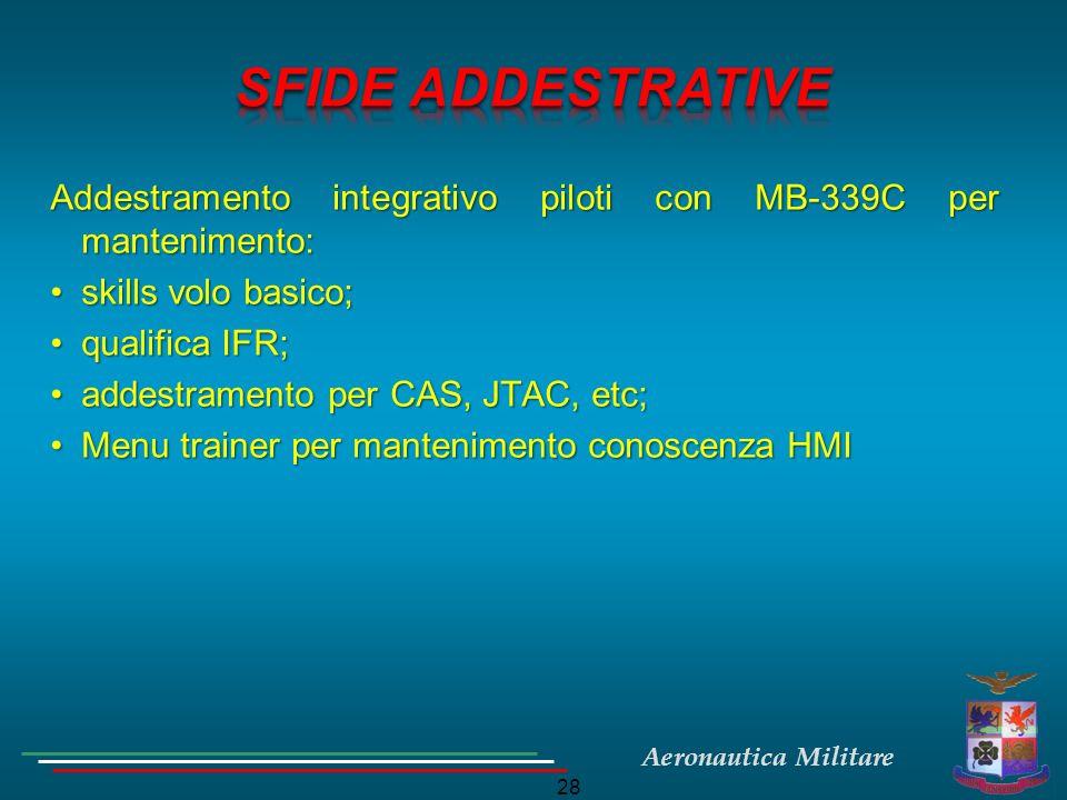 SFIDE ADDESTRATIVE Addestramento integrativo piloti con MB-339C per mantenimento: skills volo basico;