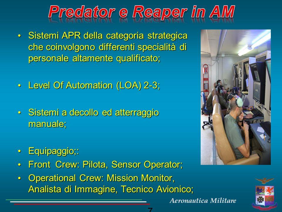 Predator e Reaper in AM Sistemi APR della categoria strategica che coinvolgono differenti specialità di personale altamente qualificato;