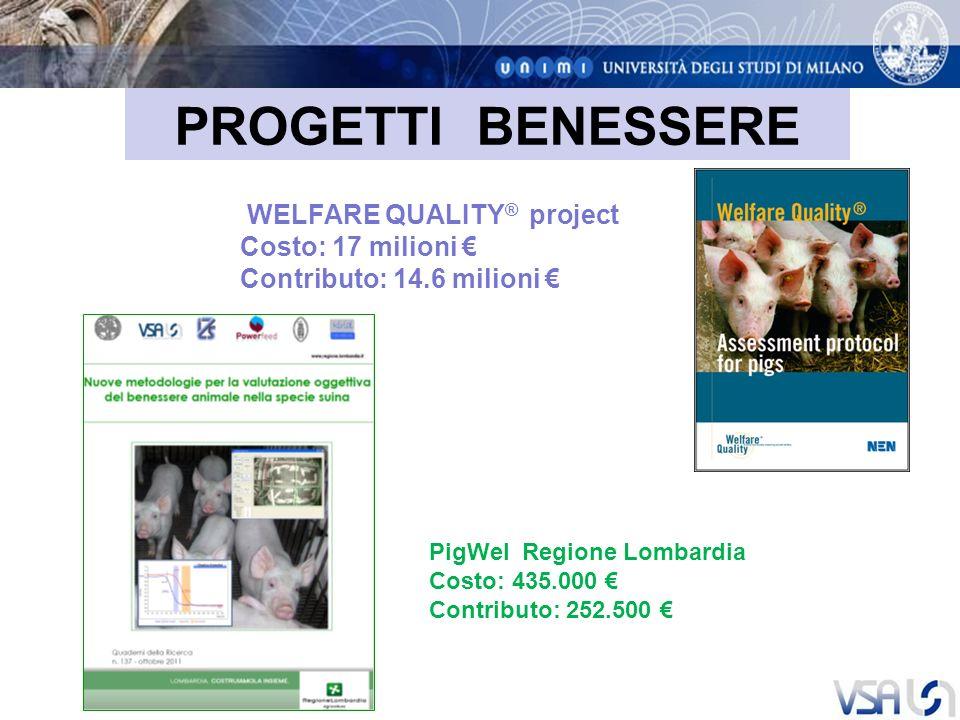 PROGETTI BENESSERE Costo: 17 milioni € Contributo: 14.6 milioni €