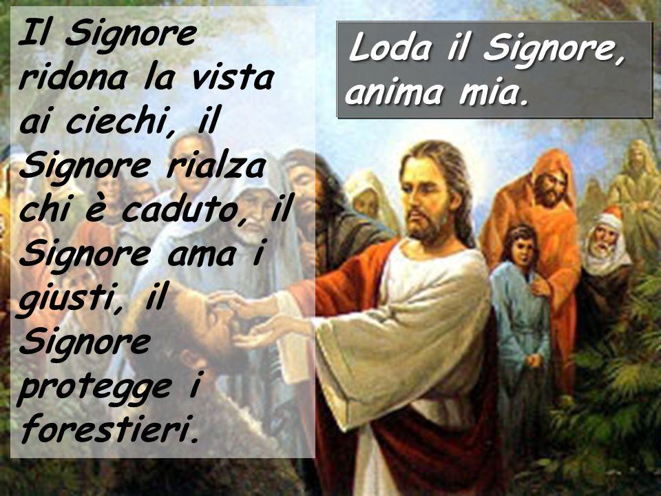 Il Signore ridona la vista ai ciechi, il Signore rialza chi è caduto, il Signore ama i giusti, il Signore protegge i forestieri.