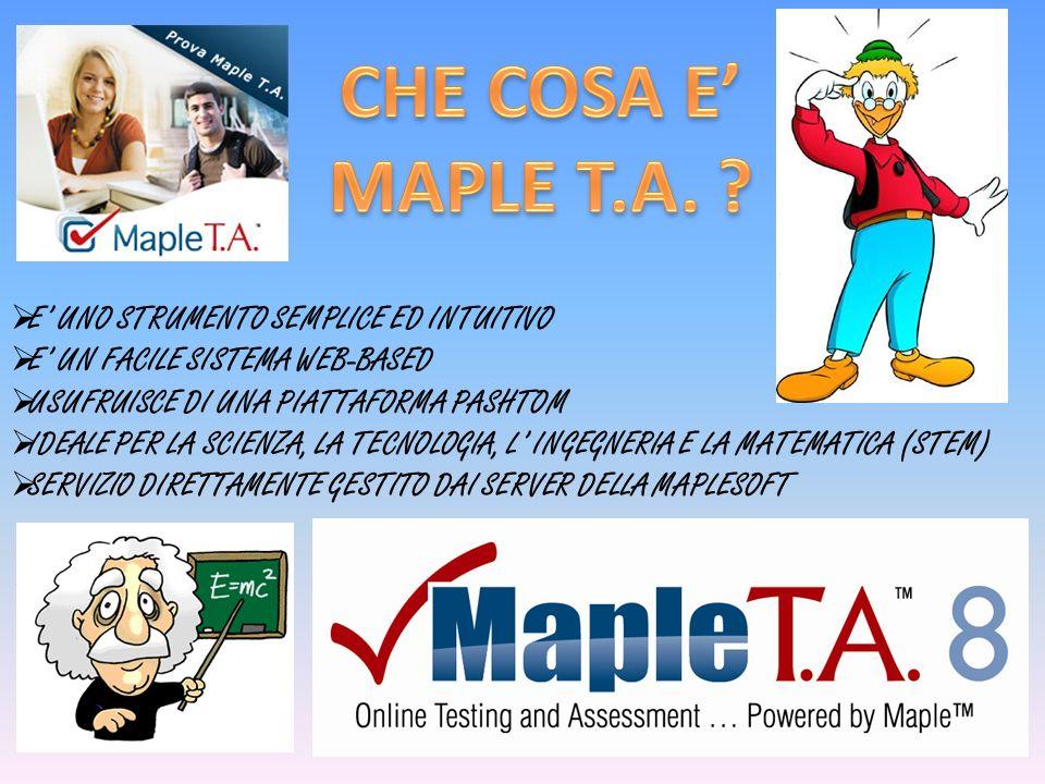CHE COSA E' MAPLE T.A. E' UNO STRUMENTO SEMPLICE ED INTUITIVO