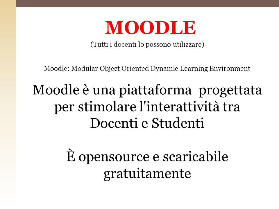 MOODLE (Tutti i docenti lo possono utilizzare) Moodle: Modular Object Oriented Dynamic Learning Environment.