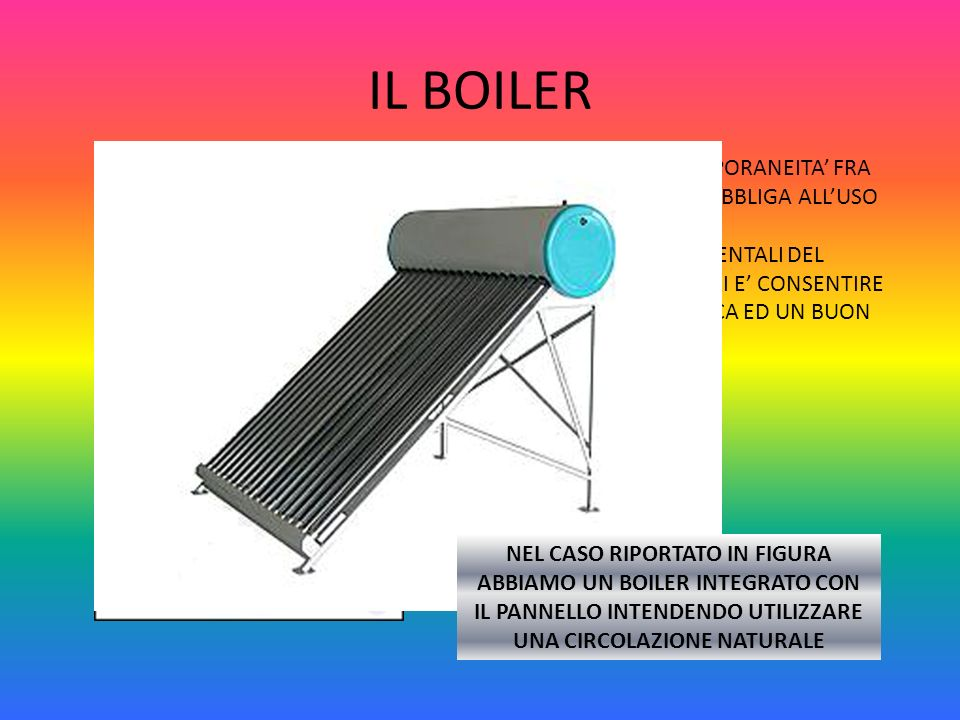 IL BOILER LA MANCANZA DI CONTEMPORANEITA' FRA PRODUZIONE ED UTILIZZO OBBLIGA ALL'USO DEL BOILER.
