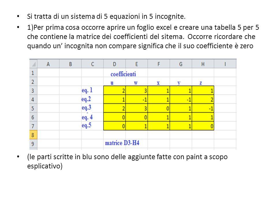 Si tratta di un sistema di 5 equazioni in 5 incognite.
