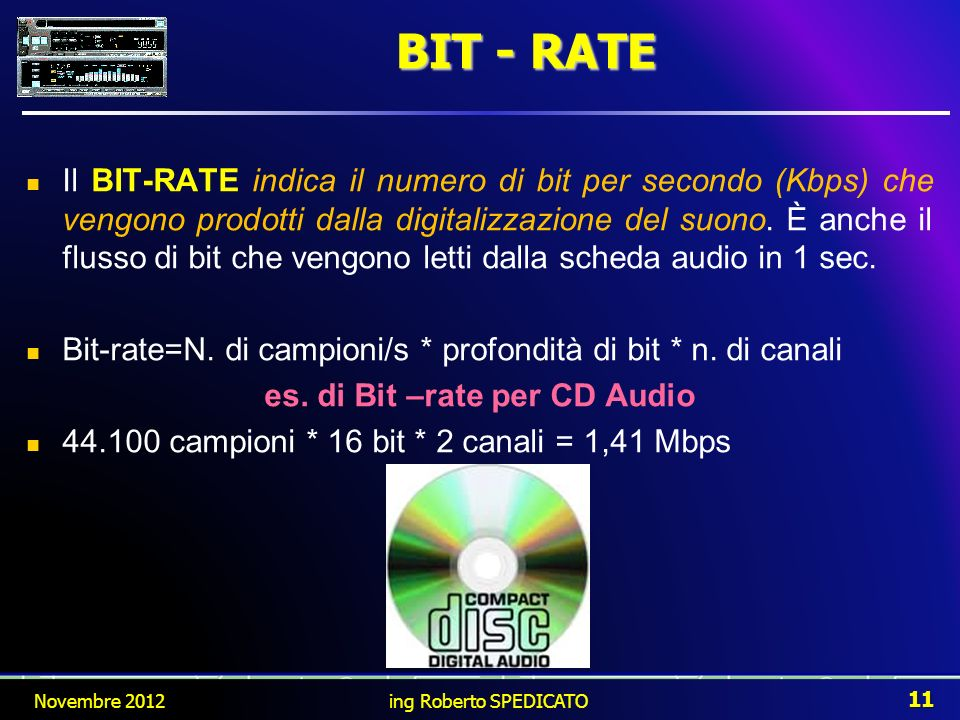 es. di Bit –rate per CD Audio