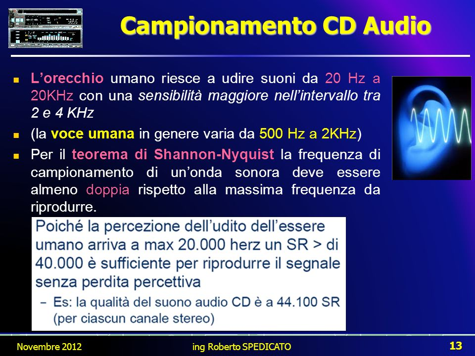 Campionamento CD Audio