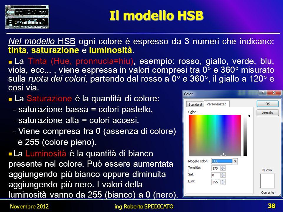 Il modello HSB Nel modello HSB ogni colore è espresso da 3 numeri che indicano: tinta, saturazione e luminosità.