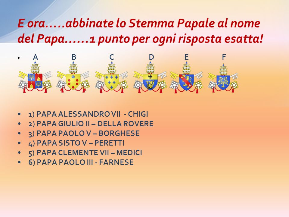 E ora…..abbinate lo Stemma Papale al nome del Papa……1 punto per ogni risposta esatta!