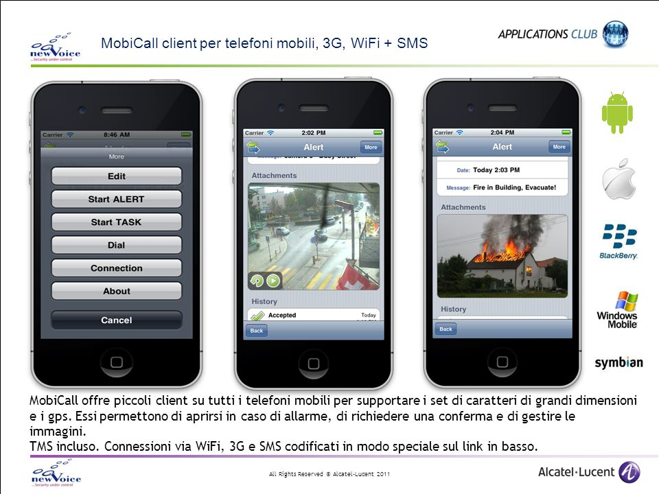 MobiCall client per telefoni mobili, 3G, WiFi + SMS