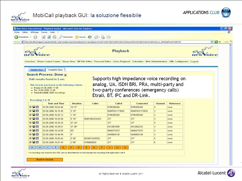 MobiCall playback GUI: la soluzione flessibile