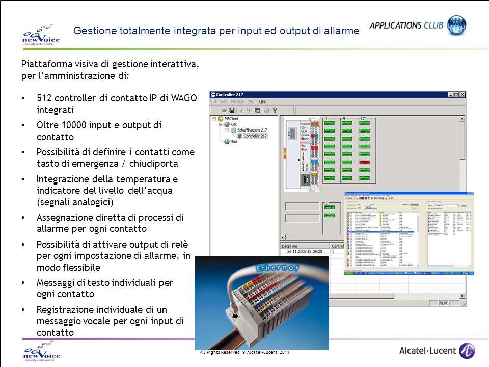Gestione totalmente integrata per input ed output di allarme