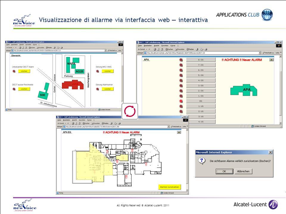 Visualizzazione di allarme via interfaccia web — interattiva