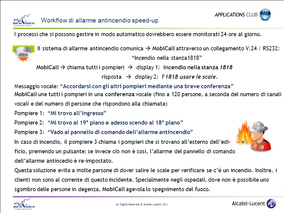 Workflow di allarme antincendio speed-up