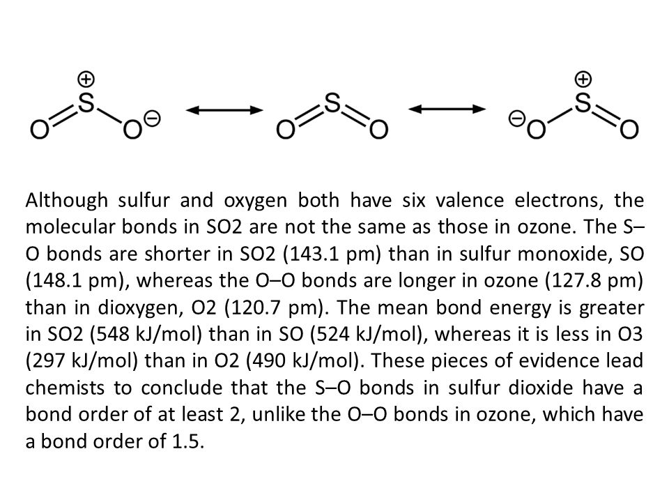 Although sulfur and oxygen both have six valence electrons, the molecular bonds in SO2 are not the same as those in ozone.