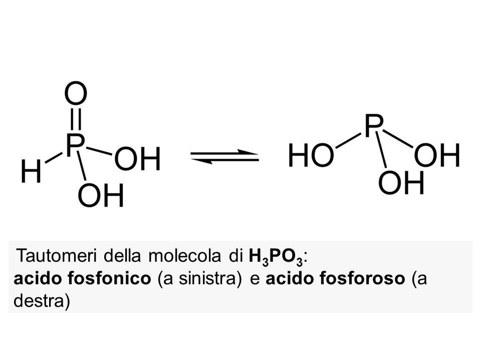 Tautomeri della molecola di H3PO3: acido fosfonico (a sinistra) e acido fosforoso (a destra)