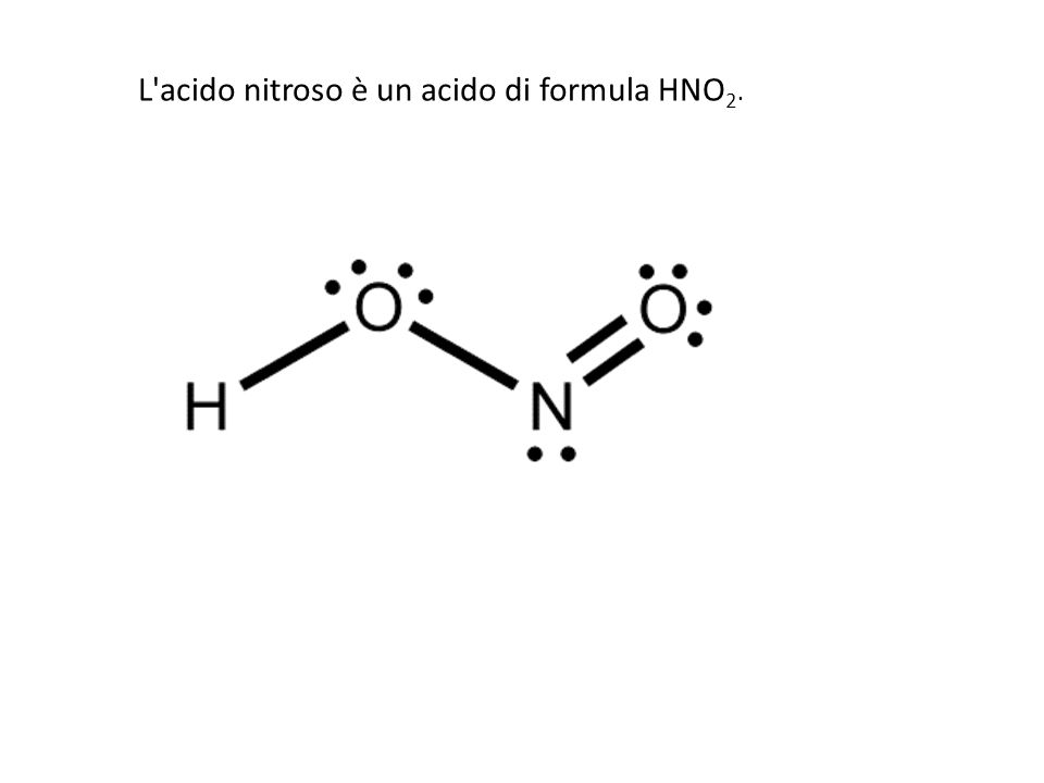 L acido nitroso è un acido di formula HNO2.