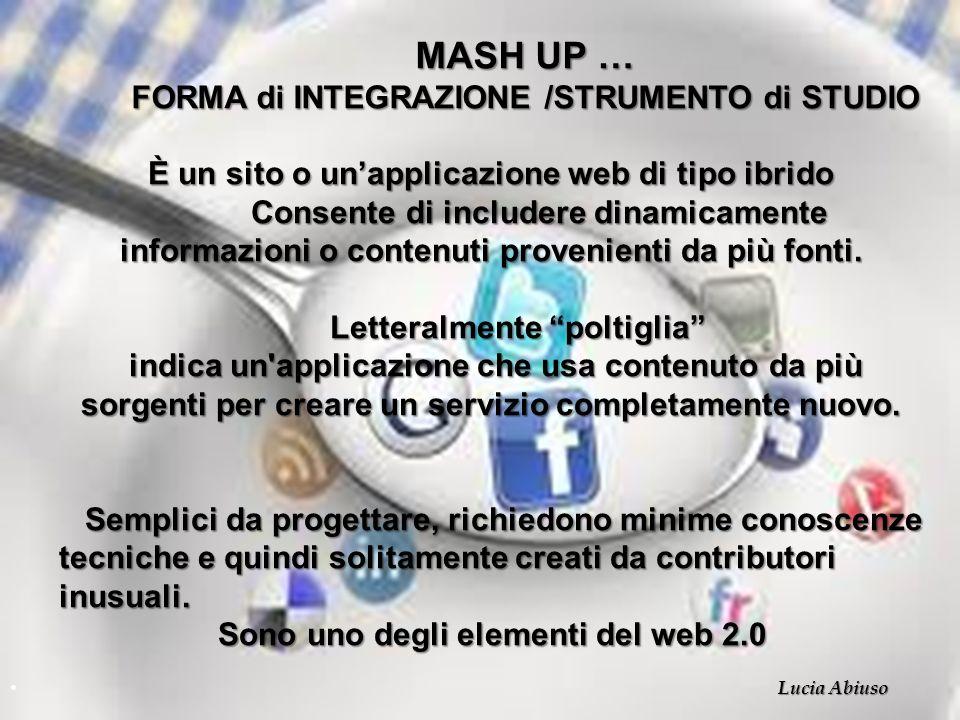 MASH UP … FORMA di INTEGRAZIONE /STRUMENTO di STUDIO