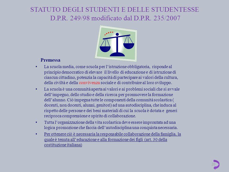 STATUTO DEGLI STUDENTI E DELLE STUDENTESSE D. P. R