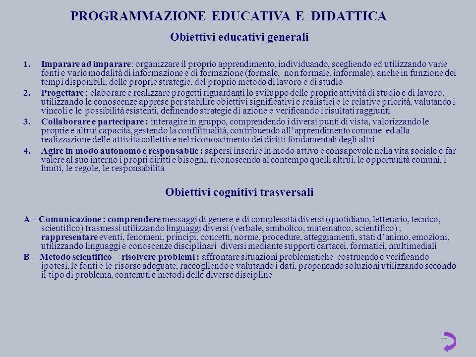 PROGRAMMAZIONE EDUCATIVA E DIDATTICA