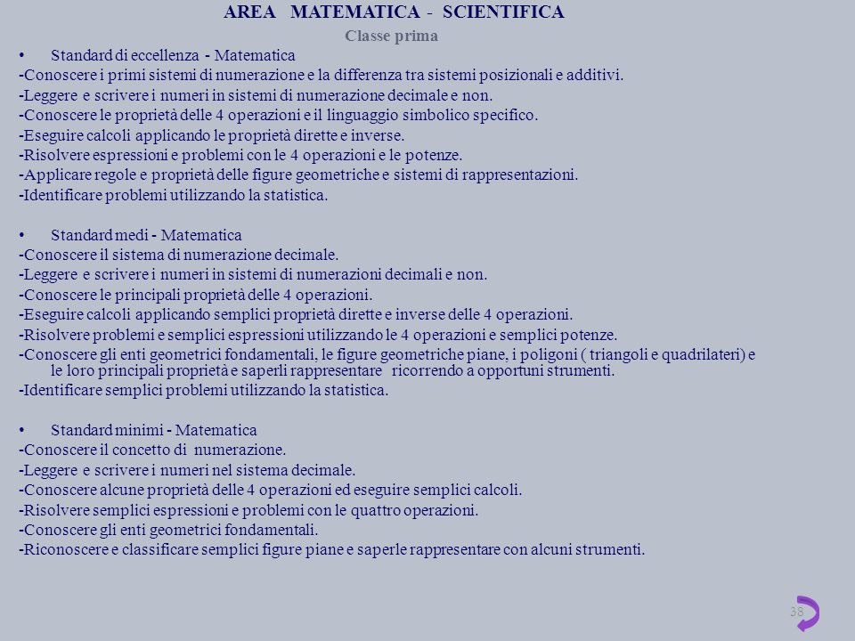 AREA MATEMATICA - SCIENTIFICA