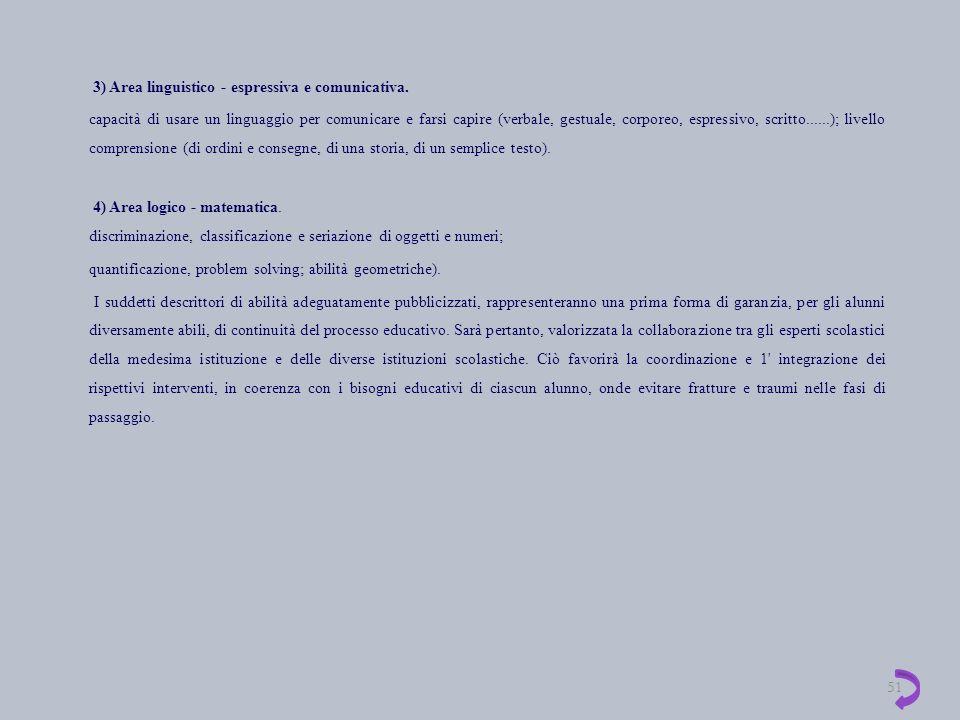 3) Area linguistico - espressiva e comunicativa