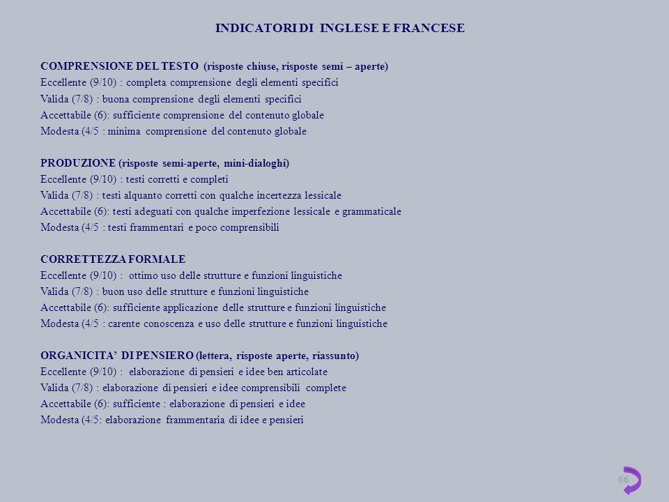 INDICATORI DI INGLESE E FRANCESE