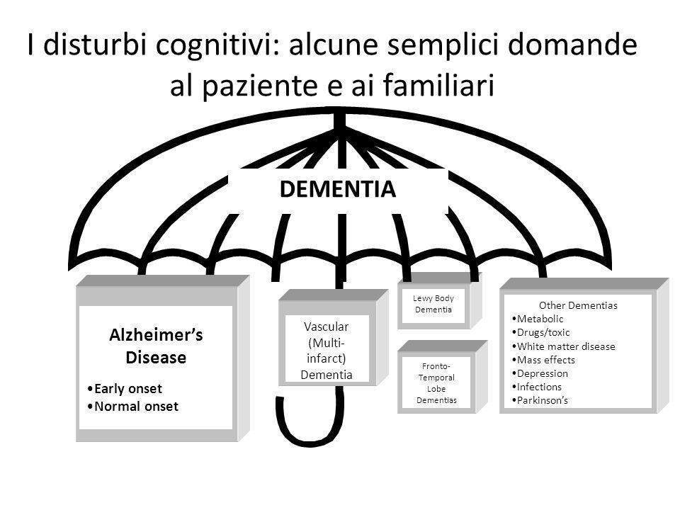 I disturbi cognitivi: alcune semplici domande al paziente e ai familiari
