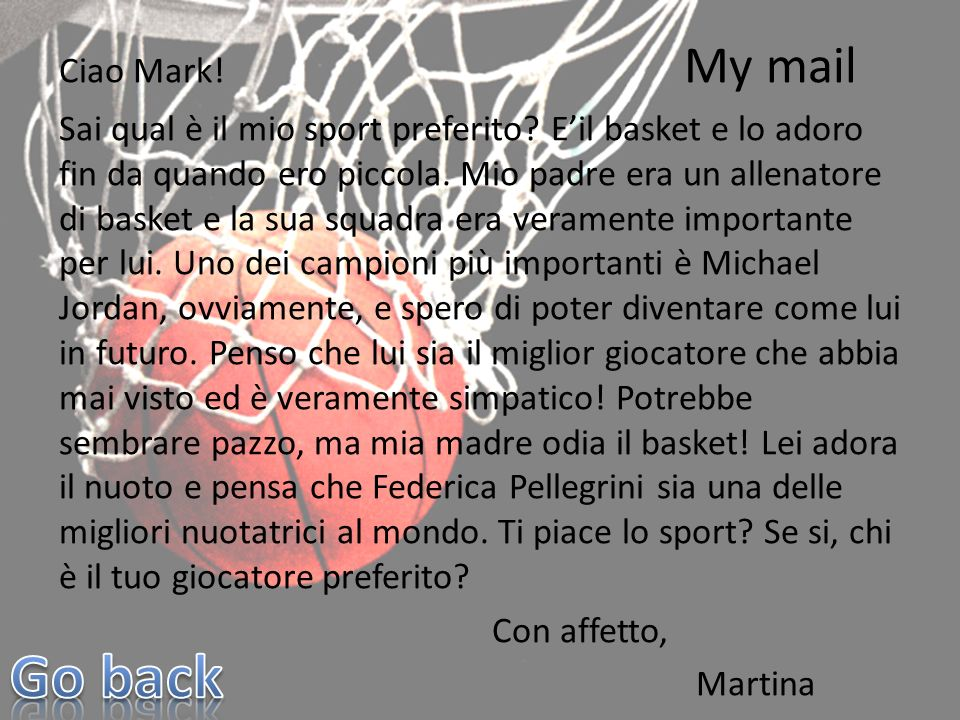 Ciao Mark. My mail Sai qual è il mio sport preferito