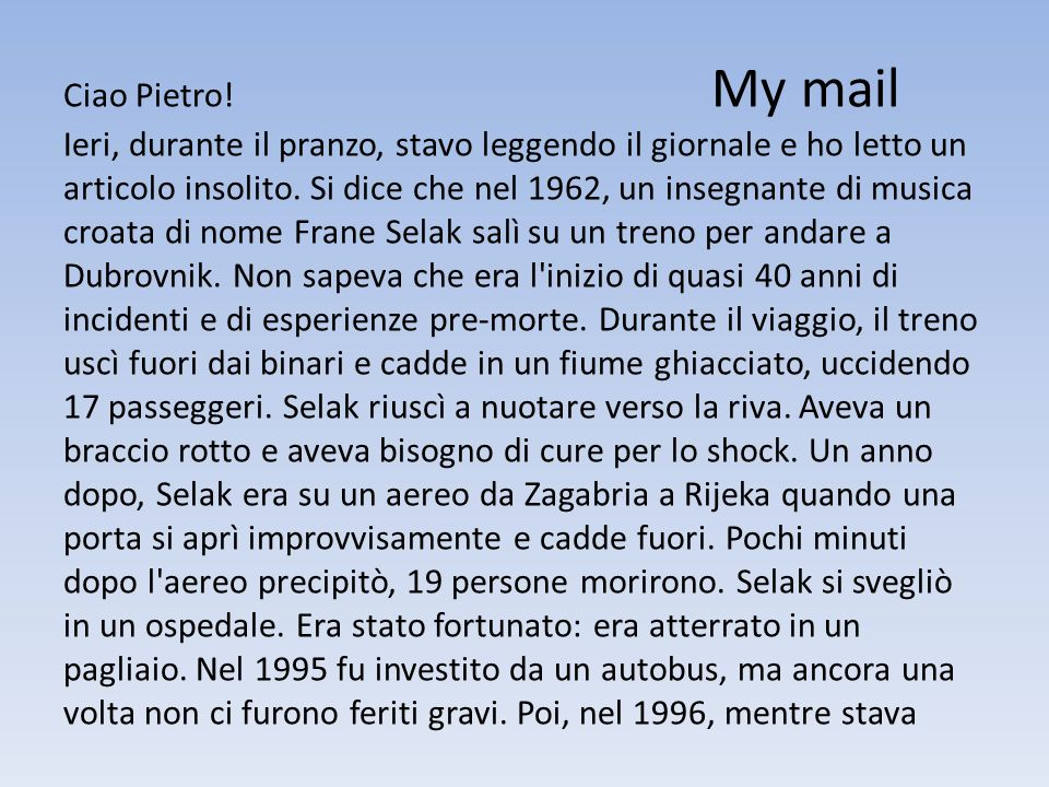 Ciao Pietro.